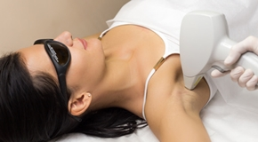Laser hair removal in professional beauty studio