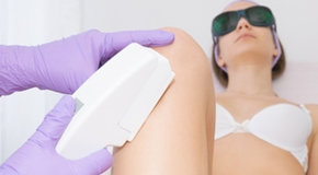 Close up of laser epilation treatment