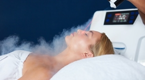 Beautiful woman getting local cryotherapy therapy