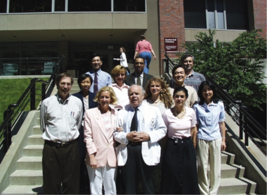 In 1999, at the entrance of The Wellman Center for Photomedicine: R. Rox Anderson (far left of the front row), Thomas B. Fitzpatrick (third from the left in the front row), and the author (right side of the third row)